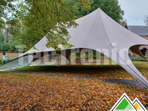 Taupe twin stertent (Far West Event Service) met 2 panoramische ramen