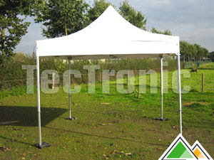 Professionele plooitenten 3 x 6 meter in wit of beige pvc 550 gr/m².